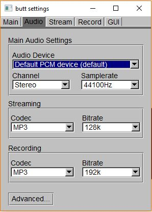 Butt audio settings