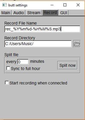 Configuración grabación Butt