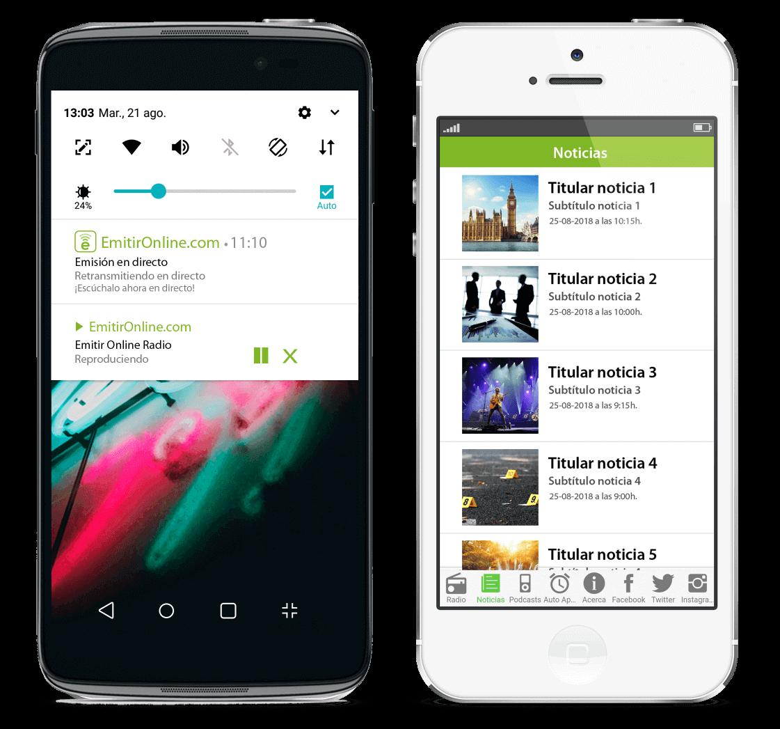 Desarrollo aplicaciones móviles Android y iOS para radio - EmitirOnline.com